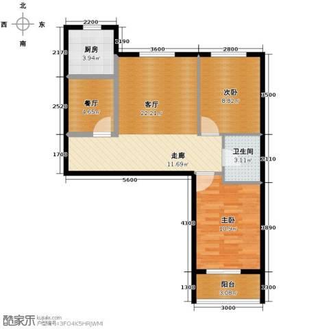 学院1号2室2厅1卫0厨80.00㎡户型图