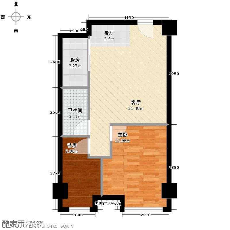 YOHO湾84.00㎡平层D4G-1户型2室1厅1卫