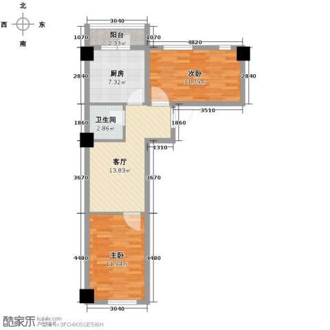上东街区2室0厅1卫0厨75.00㎡户型图