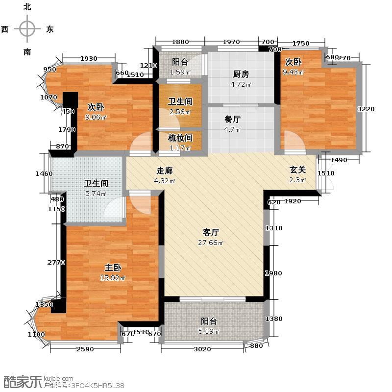 五矿万境水岸105.84㎡7栋1号房户型3室2厅2卫