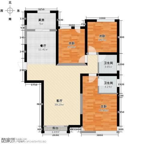 远洋城3室2厅2卫0厨129.00㎡户型图