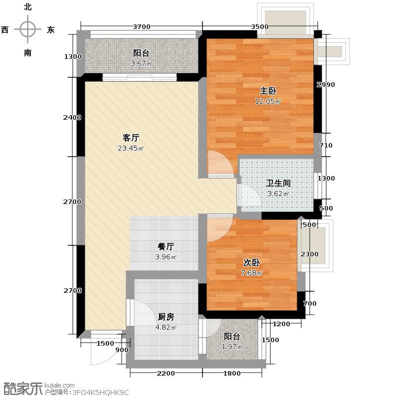 大鼎第一时间66.60㎡1号楼/2、3号房户型2室1厅1卫1厨