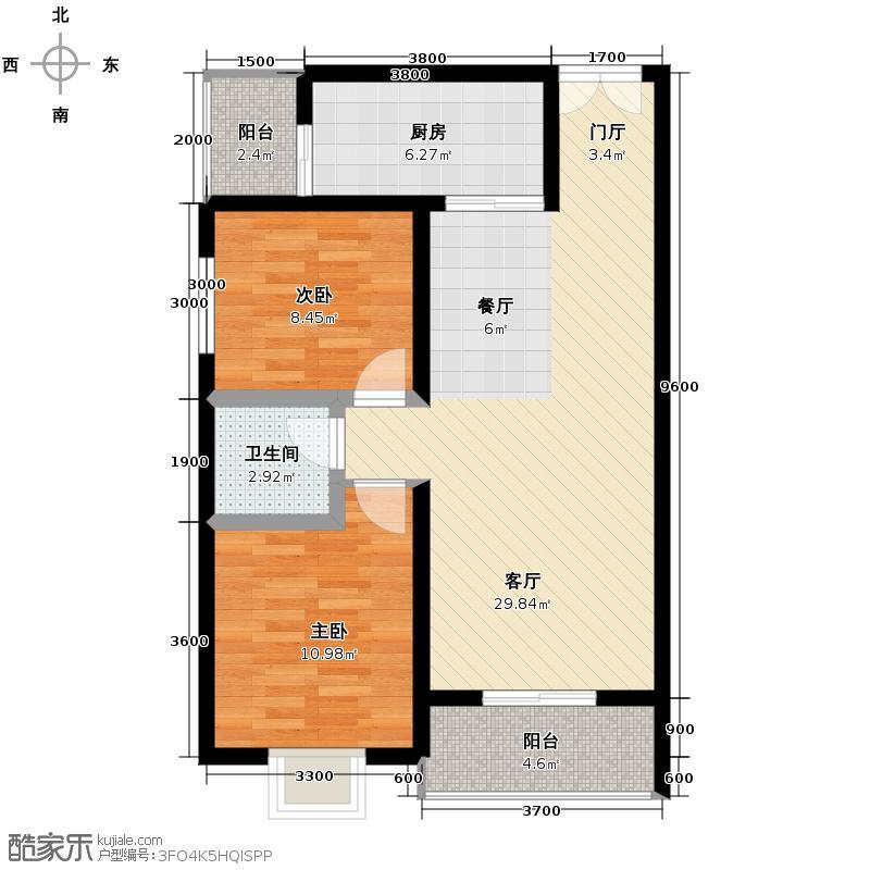 利安东庭75.72㎡C户型2室1厅1卫1厨