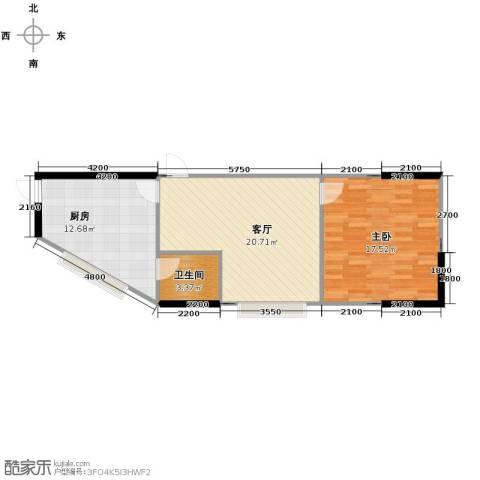 融汇新时代1室1厅1卫1厨54.27㎡户型图