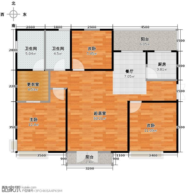 天地源津九轩137.00㎡户型3室2厅2卫