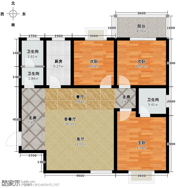 安诚御花苑119.42㎡在售B2-2-A双厅布局简洁大方户型3室2厅2卫