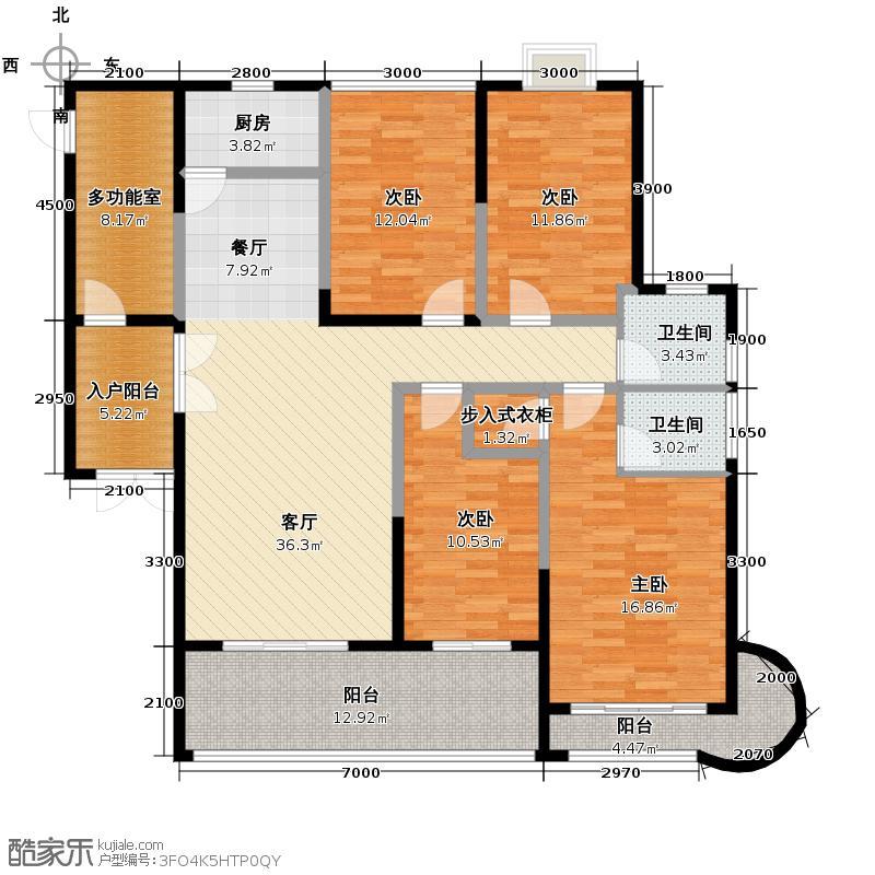 浩龙音乐界149.50㎡E户型4室2厅2卫