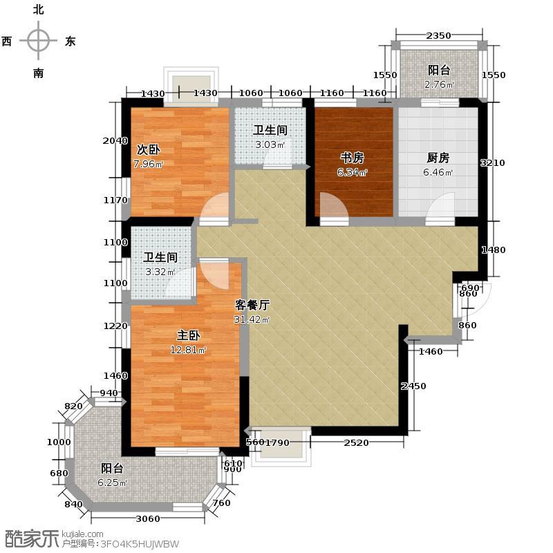 西港国际花园113.00㎡A1270度观景南北通透户型3室1厅2卫1厨