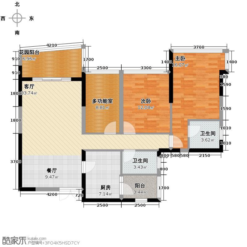 成都雅居乐花园121.00㎡户型3室2厅2卫