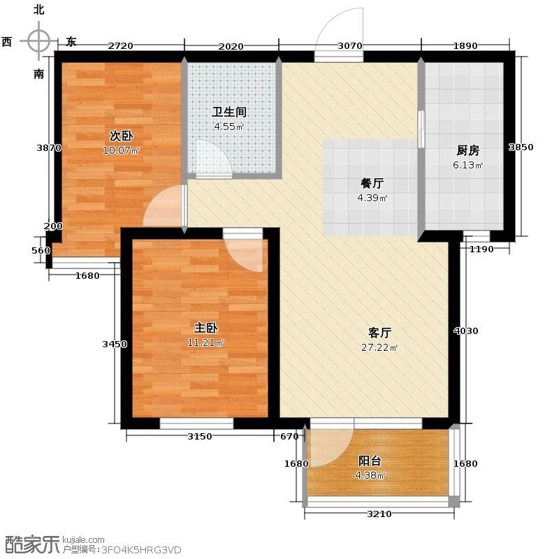 首创红树湾93.00㎡D户型2室2厅1卫