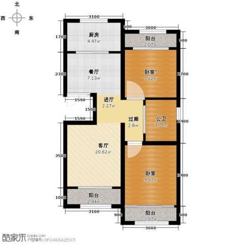 纳帕澜郡2室2厅1卫0厨85.00㎡户型图
