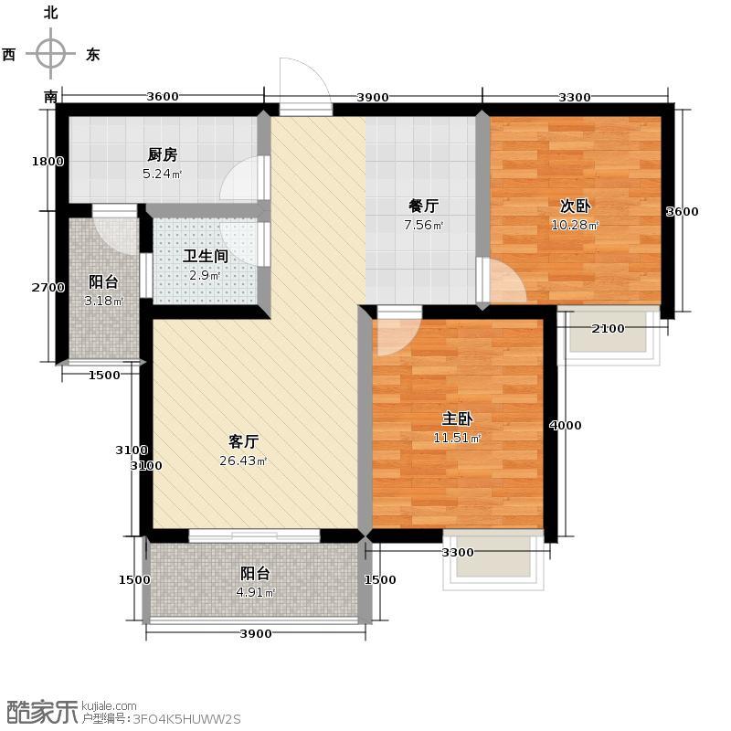 汉城湖一号92.00㎡C区B户型1室2厅1卫