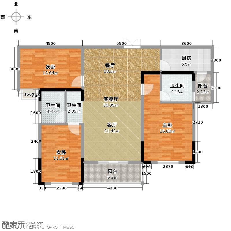 长房时代城123.92㎡10#C2户户型3室2厅2卫