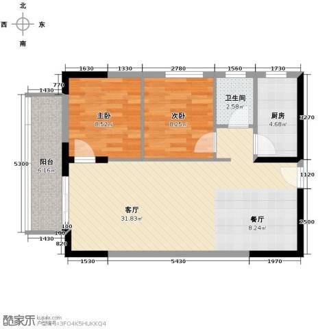 银轩铭誉2室1厅1卫1厨85.00㎡户型图