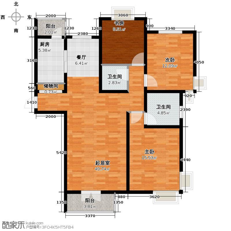 香水湾131.84㎡D3+户型3室2厅2卫