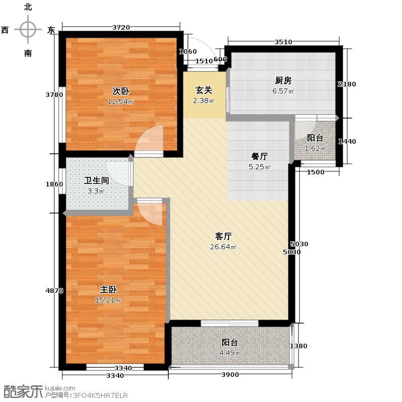 锦湖金利花园91.73㎡一期B6户型2室1厅1卫1厨