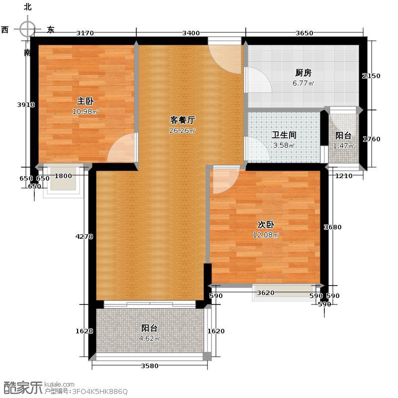 乾唐华府91.88㎡D3纯南客厅270度景观阳台主、次卧飘窗户型2室1厅1卫1厨