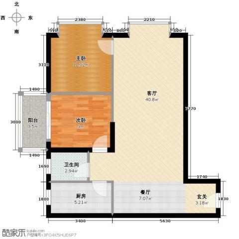 银轩铭誉2室1厅1卫1厨99.00㎡户型图