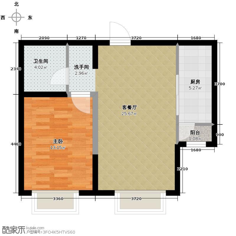 远洋城74.02㎡D4户型1室2厅1卫