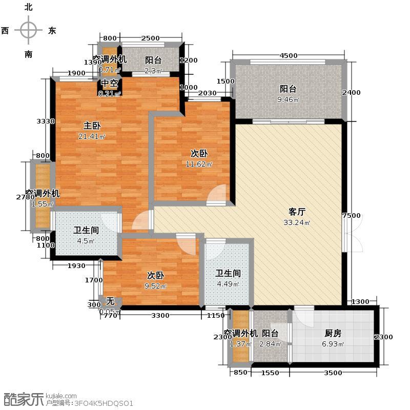 晋愉盛世融城117.25㎡8号楼E双卫+院馆户型3室2厅1卫