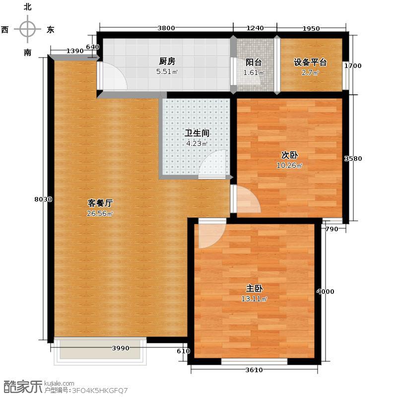 弘泽城90.38㎡2号楼户型2室2厅1卫