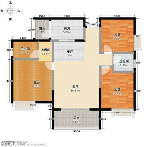 中凯翠海朗园3室1厅2卫1厨96.00㎡户型图