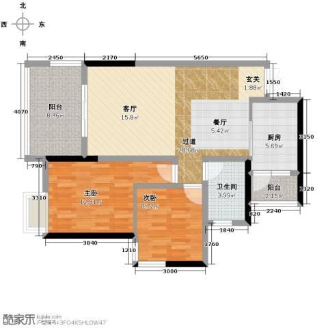 中凯翠海朗园2室0厅1卫1厨74.00㎡户型图
