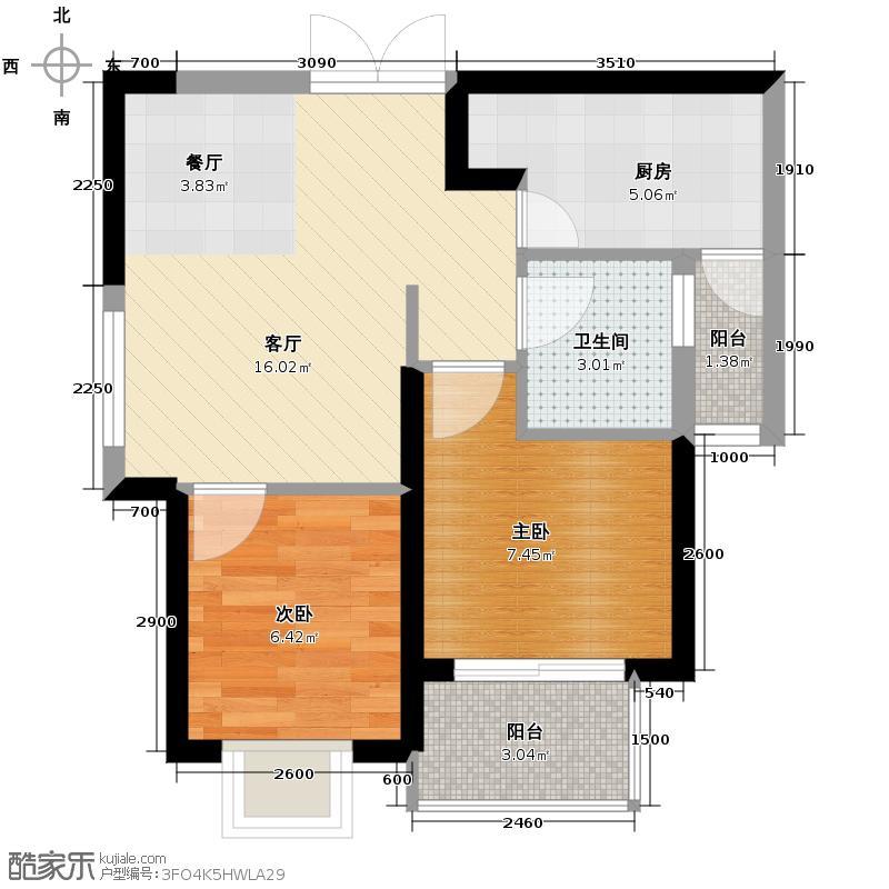 鑫苑名家58.00㎡1期E1户型2室1厅1卫1厨