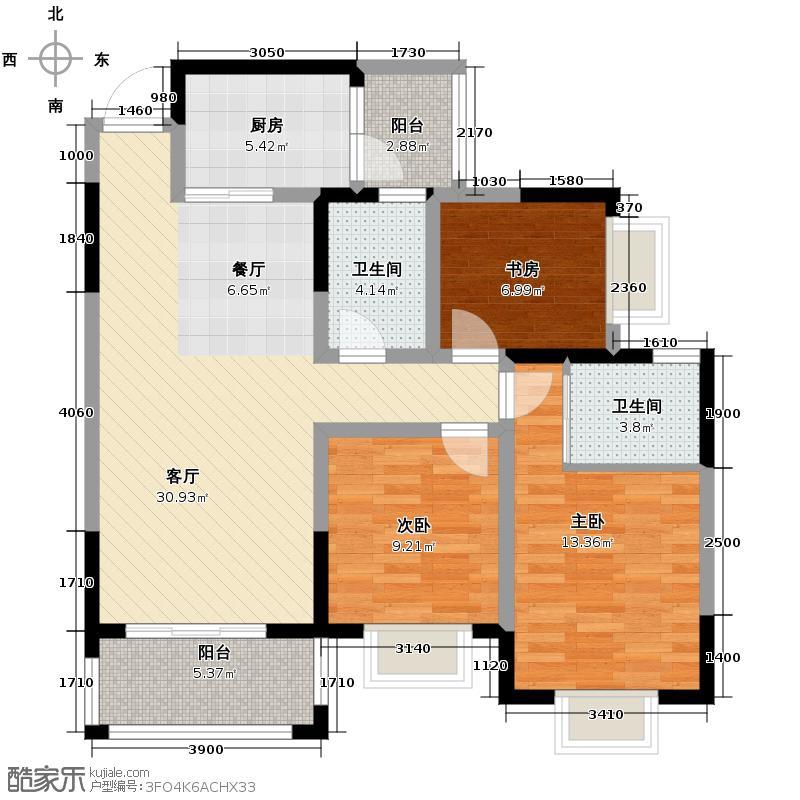 银锣湾95.69㎡C1户型3室1厅2卫1厨