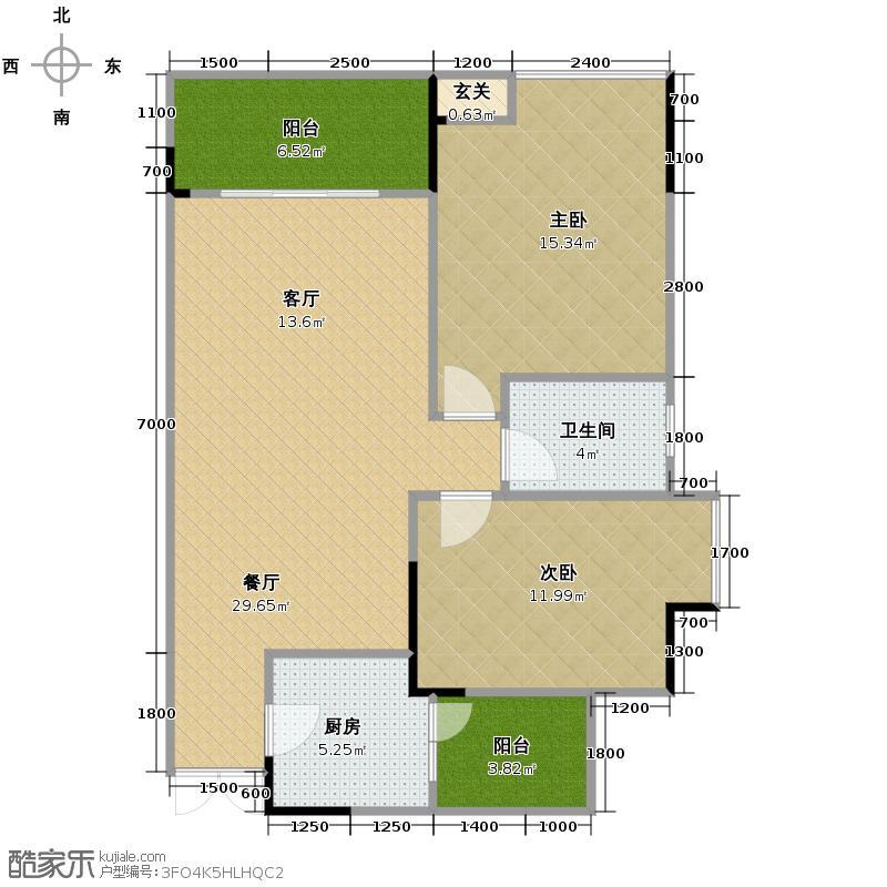 中凯翠海朗园72.95㎡--43套户型2室1厅1卫1厨