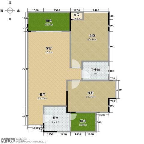 中凯翠海朗园2室1厅1卫1厨77.20㎡户型图