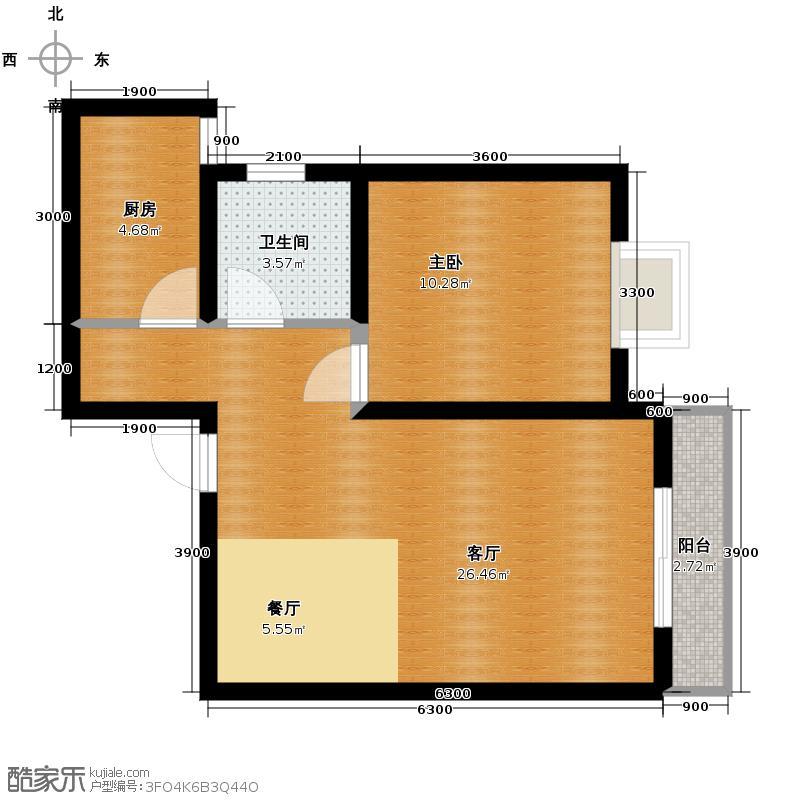 林河春天67.01㎡H3户型1室2厅1卫
