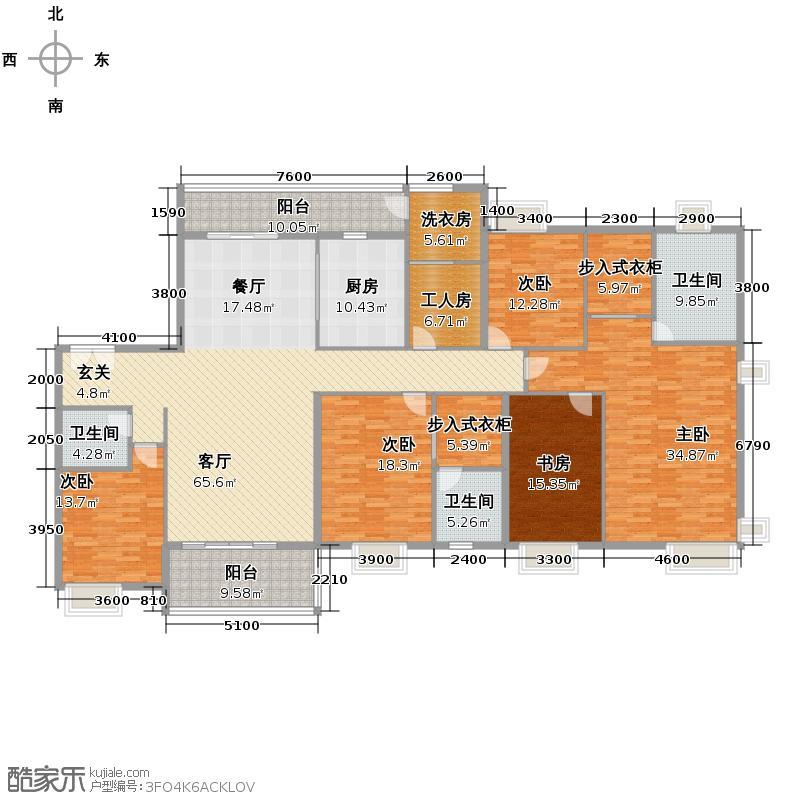 紫薇永和坊290.00㎡8/10号楼A南向双主卧卫生间全飘窗设计户型5室2厅3卫