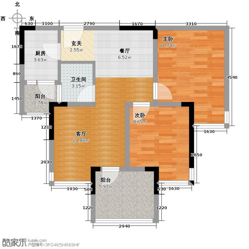 华宇金沙时代56.37㎡17号楼5号房户型2室1厅1卫1厨