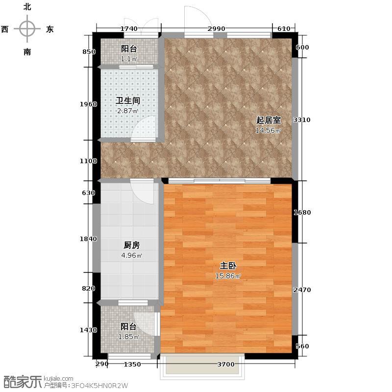 四季风情55.31㎡阳光小屋户型1室1厅1卫