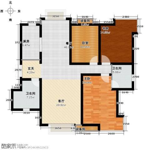 天庆格林小镇2室1厅2卫1厨143.00㎡户型图