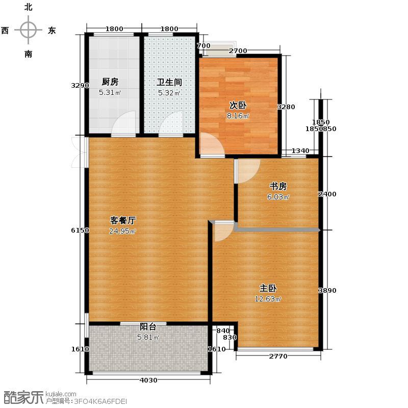 卧龙原墅90.00㎡C户型3室2厅1卫