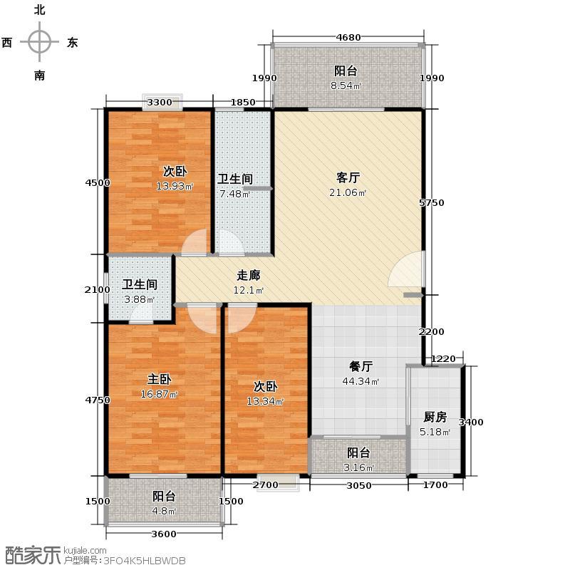 阳光丽舍117.92㎡房型户型3室1厅2卫1厨