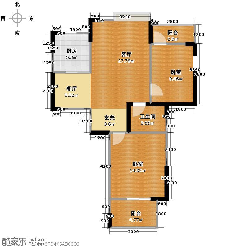 保利心语86.00㎡9期A-1户型2室2厅1卫