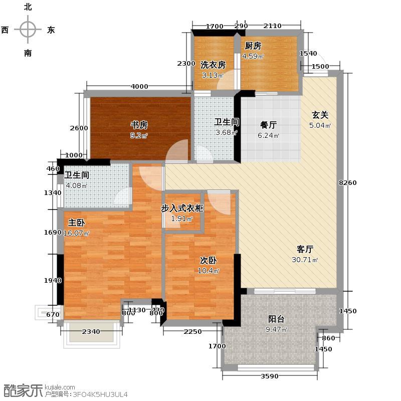 中城丽景香山122.79㎡B户型3室2厅2卫