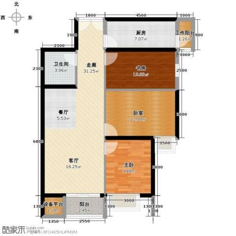 华远君城3室2厅1卫0厨108.00㎡户型图