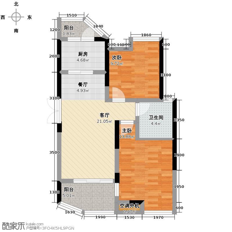 五矿万境水岸88.00㎡C-2B户型2室2厅1卫