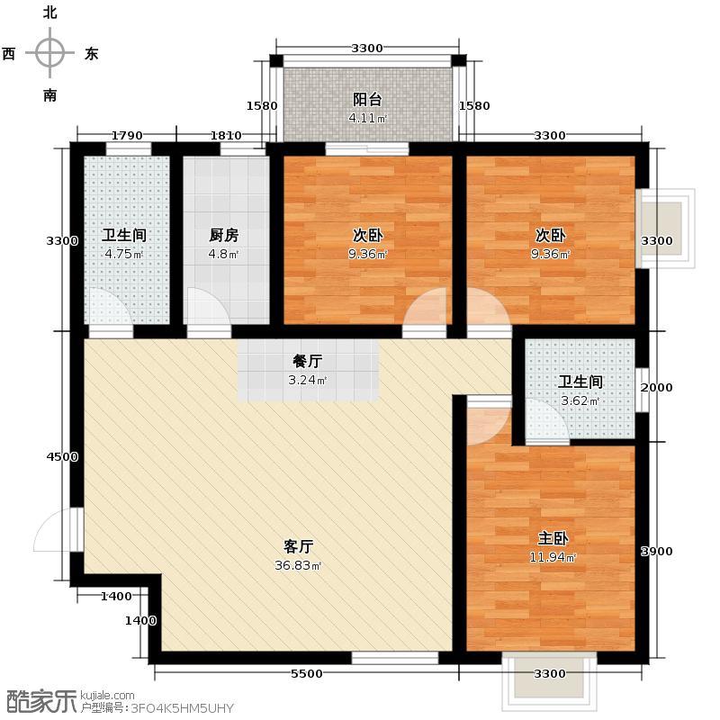 安诚御花苑120.42㎡在售B2-3-C动静分离双厅设计户型3室2厅2卫