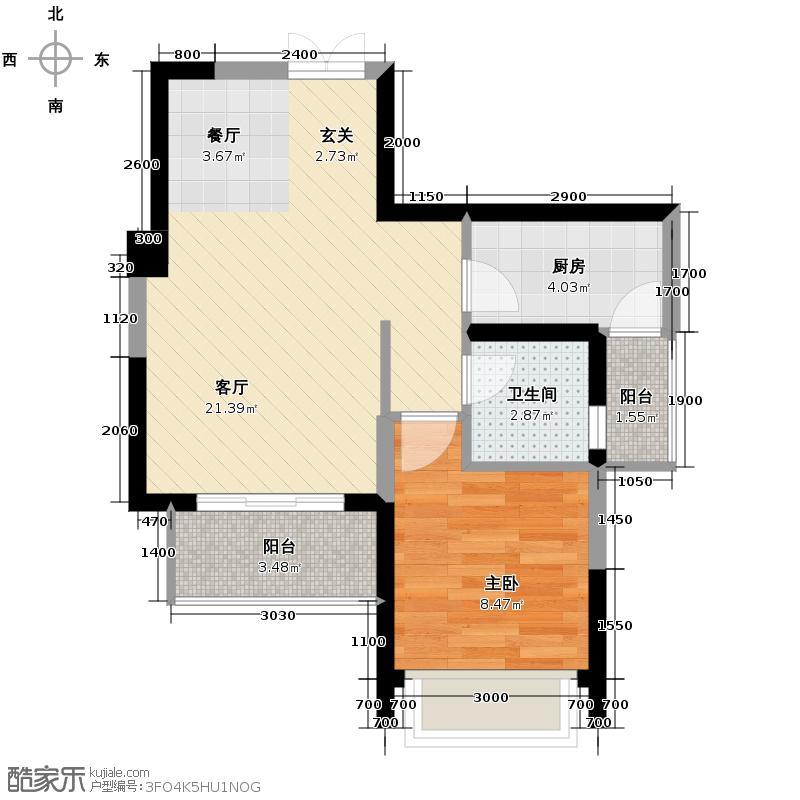 宏达世纪锦城56.00㎡2011年4月开盘2号楼F3-单卫-jpg户型1室1厅1卫1厨
