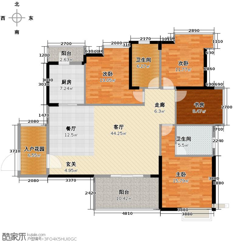 金地中心城157.00㎡西7-E2户型4室1厅2卫1厨