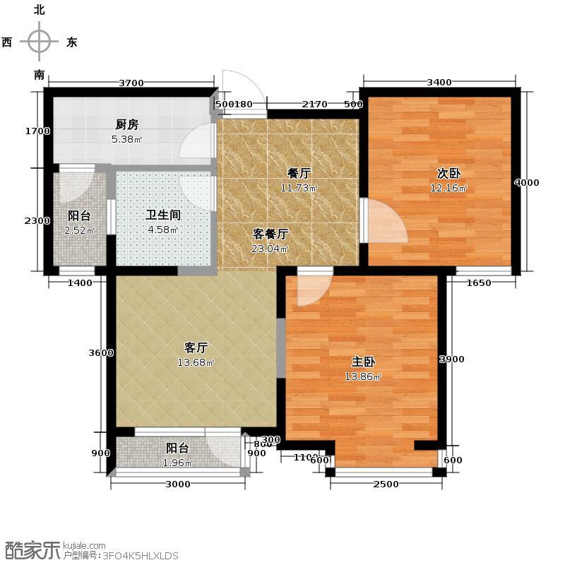 弘泽城95.56㎡9、10号楼户型2室2厅1卫