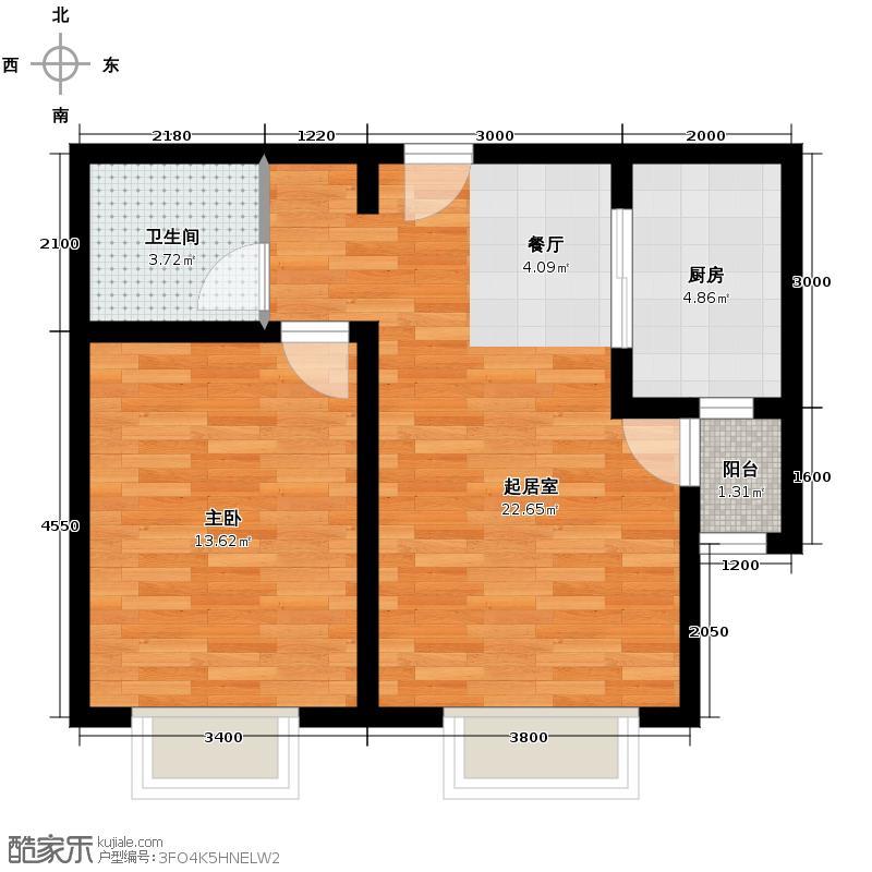 远洋城73.36㎡C2户型1室2厅1卫