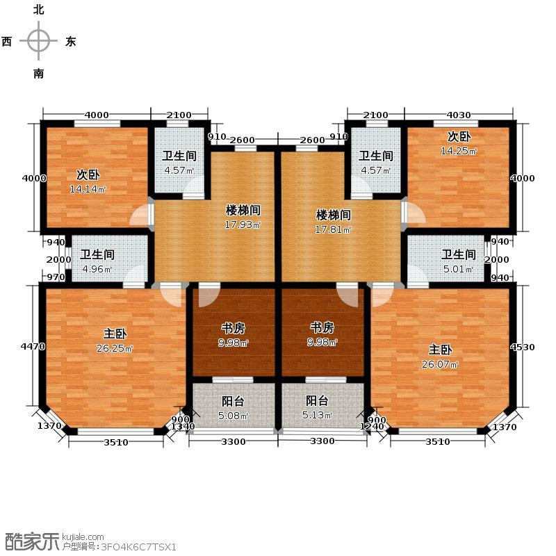 西墅锦园255.00㎡A1-1排屋二层户型4室2厅5卫