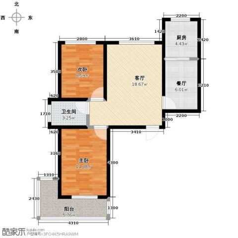 学院1号2室2厅1卫0厨83.00㎡户型图