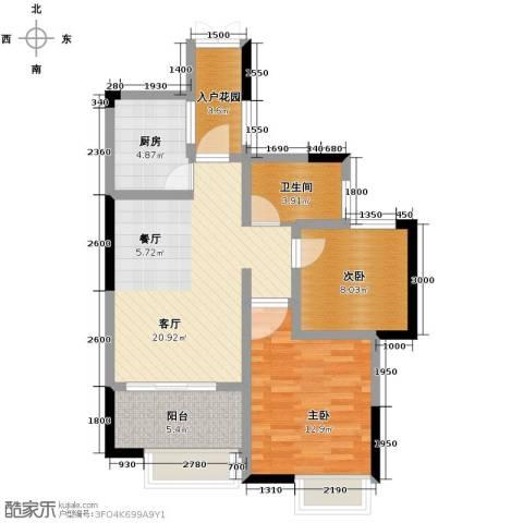 联泰香域中央2室2厅1卫0厨76.00㎡户型图
